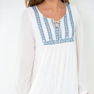 White Embroidered Blu Pepper Dress